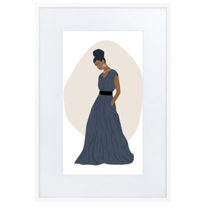 Elegant Lady in Blue Gown - Matte Paper Framed Poster With Mat