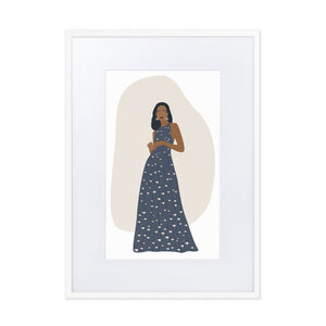 Elegant Lady in Blue Print Gown - Matte Paper Framed Poster With Mat