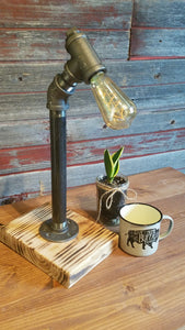 Burned Base Angled Stick Lamp
