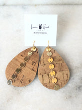 Load image into Gallery viewer, Tear Drop Cork Earrings w/ Round Chain