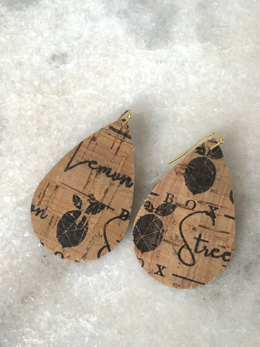 Signature Tear Drop Cork Earrings
