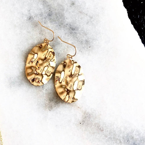 18 Carat Gold Hammered Earrings