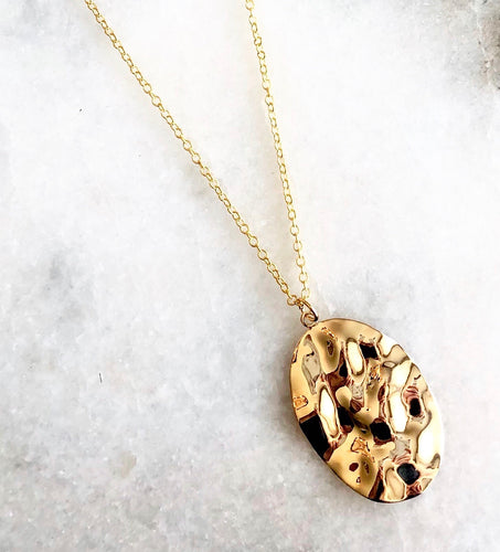 18 Carat Gold Hammered Necklace