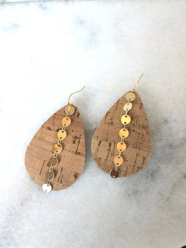Tear Drop Cork Earrings w/ Round Chain