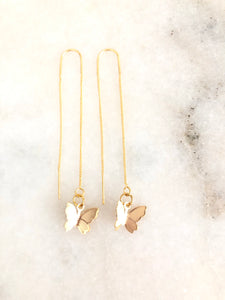 Butterfly threaded earrings 18k gold