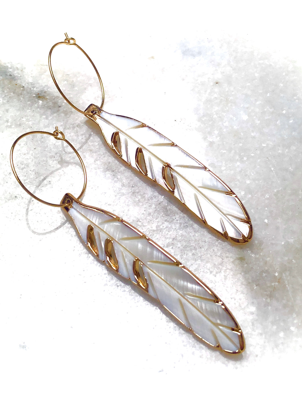 Shell Feather Earrings
