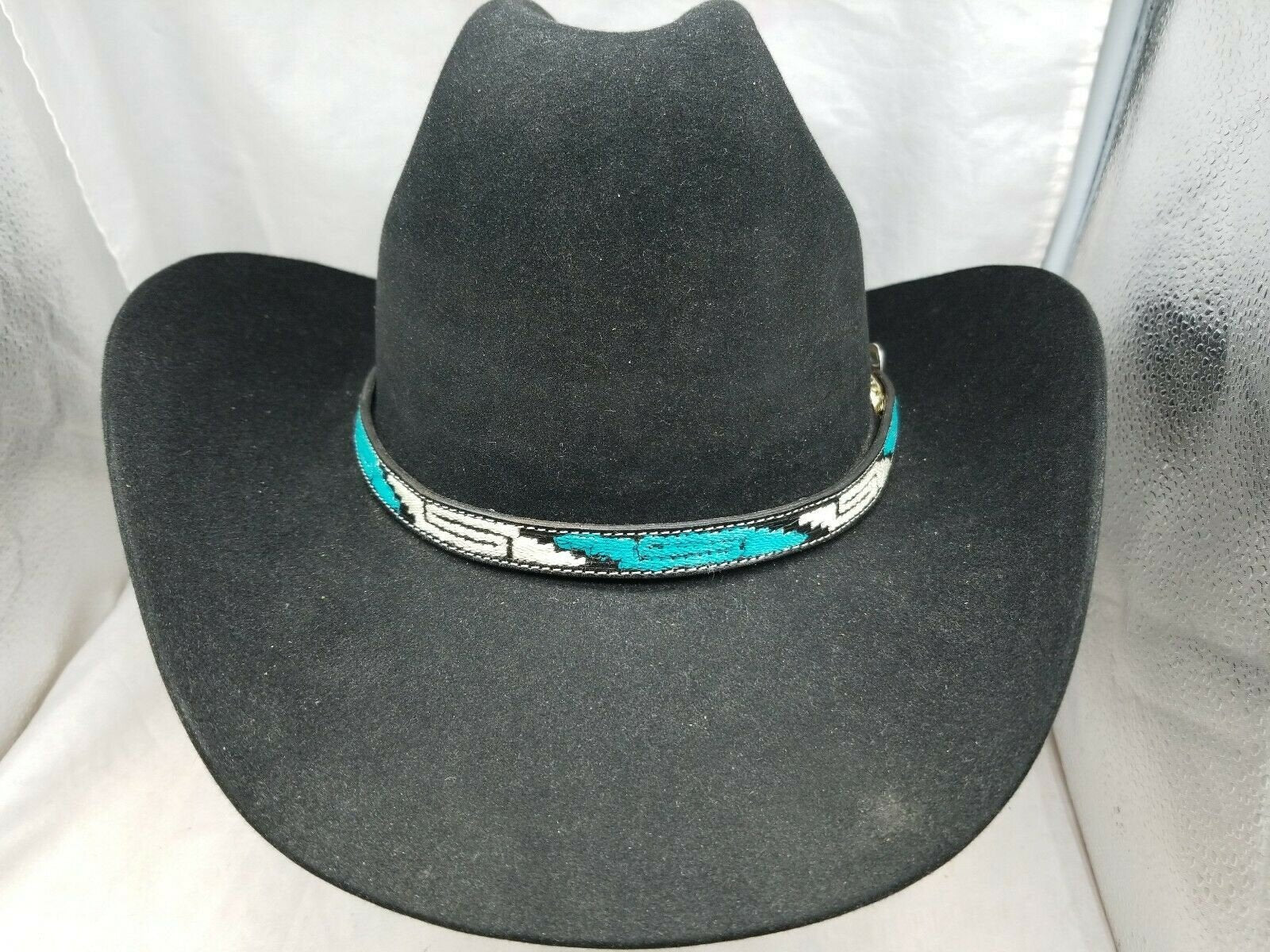 Silver EMBROIDERY and 3-piece Shiny Silver Buckle Set Western Cowgirl Hats Cowboy Hat Band Black HATBAND with Turquoise