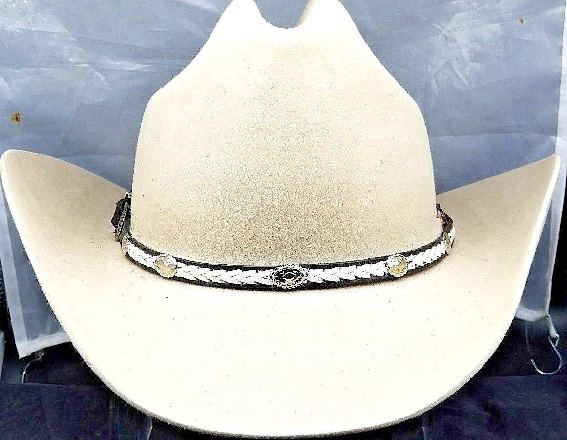 BLACK HATBAND Genuine Leather with RED Braided Leather and 3-piece Silver Buckle Set Cowboy Hats Hat Band Vintage Western Design
