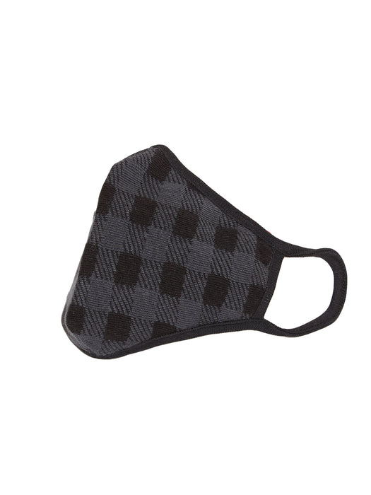 X1 GINGHAM CHECKS BLACK & GREY COTTON KNITTED FACE MASK