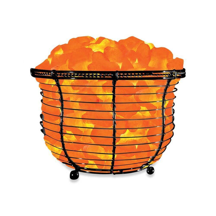 Basket Salt Lamp With Salt Chunks - Himalayan Trading Co. Himalayan Salt Lamp Himalayan Pink Salt