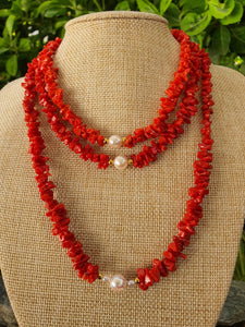 MAIANAH : Collier Corail perle naturelle