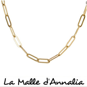 MILA : collier court maille rectangle acier inoxydable