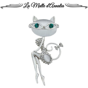 VANINA : Broches opale et strass des lunettes chat