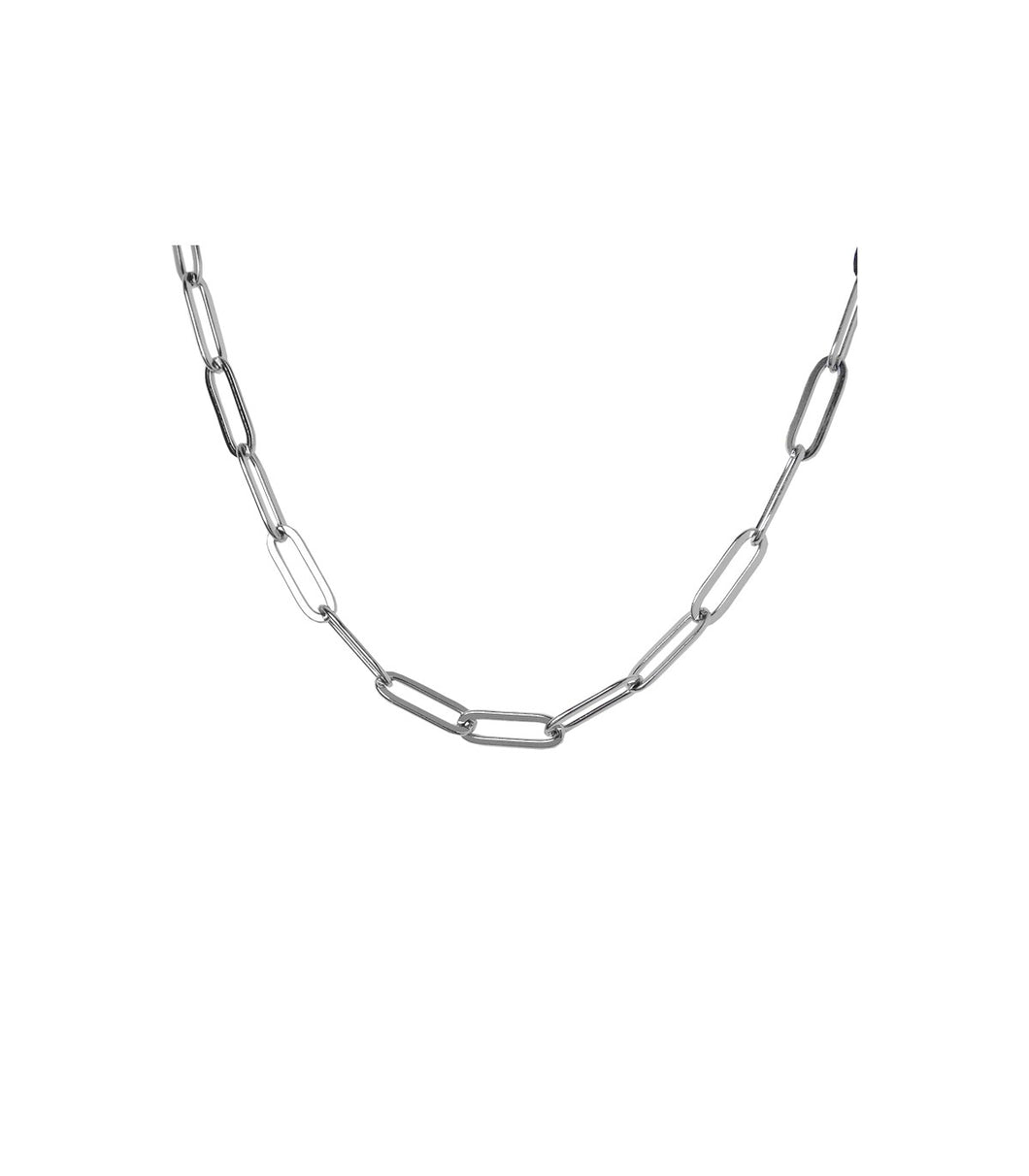 PILA : collier court maille rectangle acier inoxydable