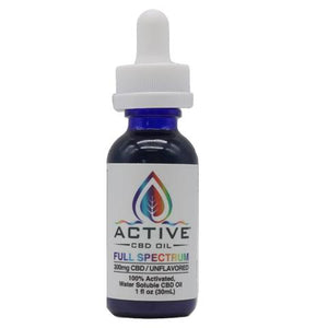 Active CBD Oil Tincture - Water Soluble, Full Spectrum - 300mg