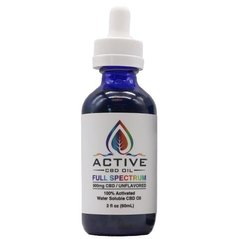 Active CBD Oil Tincture - Water Soluble, Full Spectrum - 900mg - Unflavored