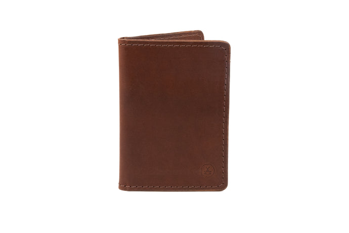 Classic vertical bifold slim wallet in whiskey Kangaroo leather