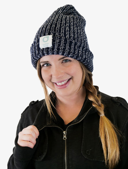 ONE SIZE BLUE & WHITE BEANIE