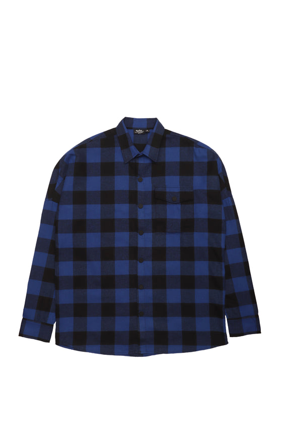 Royal Blue Flannel Drop Shoulder Shirt
