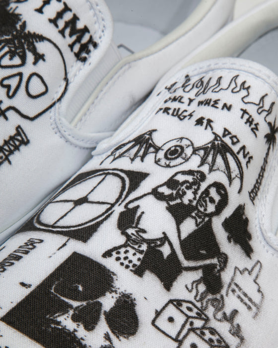 Vans Slip On White - Rolling Loud x For Those Who Sin