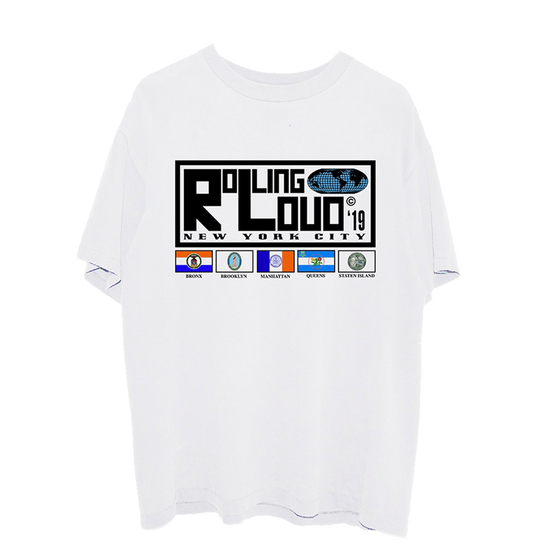 NY19 Rolling World Line Up White SS Tee