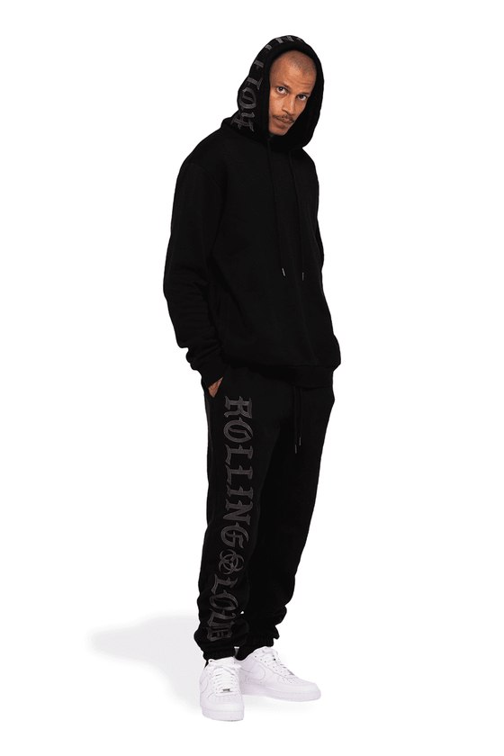 OE Heavyweight Embroidered Black Sweatpants