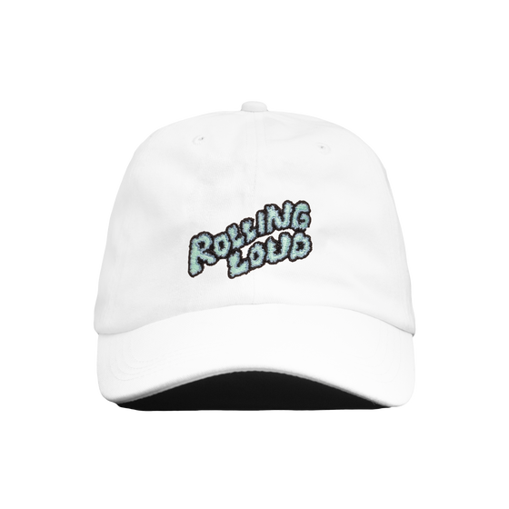 Rolling Loud Miami White Dad Hat with Puffy Logo