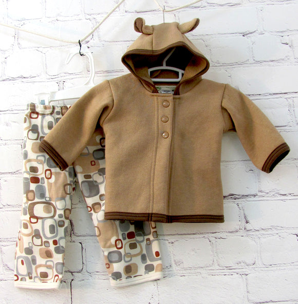 Bear Jacket and Groovy Brown Pant Set