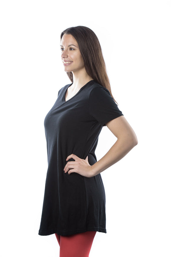 Women's Effortless Tshirt Dress, V Neck in Night Sky (short sleeve)
