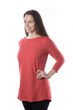 Women's Classic Tunic, Boat Neck in Cardinal Red (3/4 sleeve)