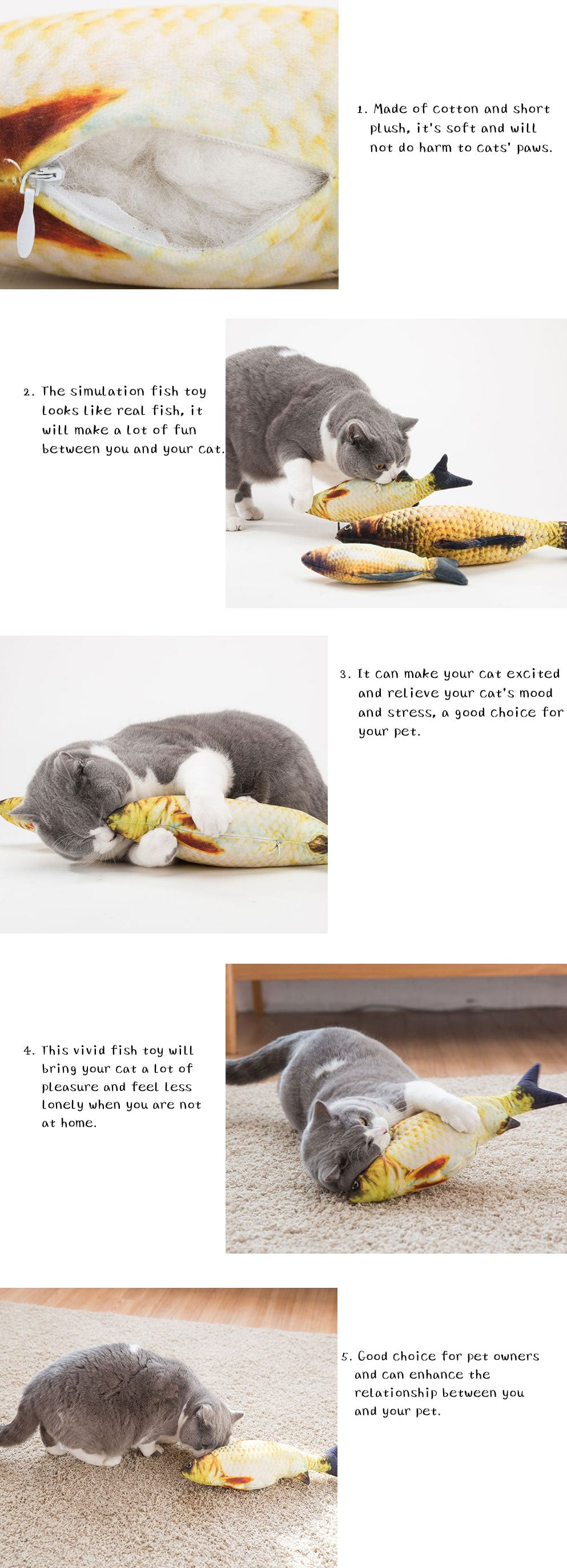 Fish Shape Stuffed Pillow Cat Toy