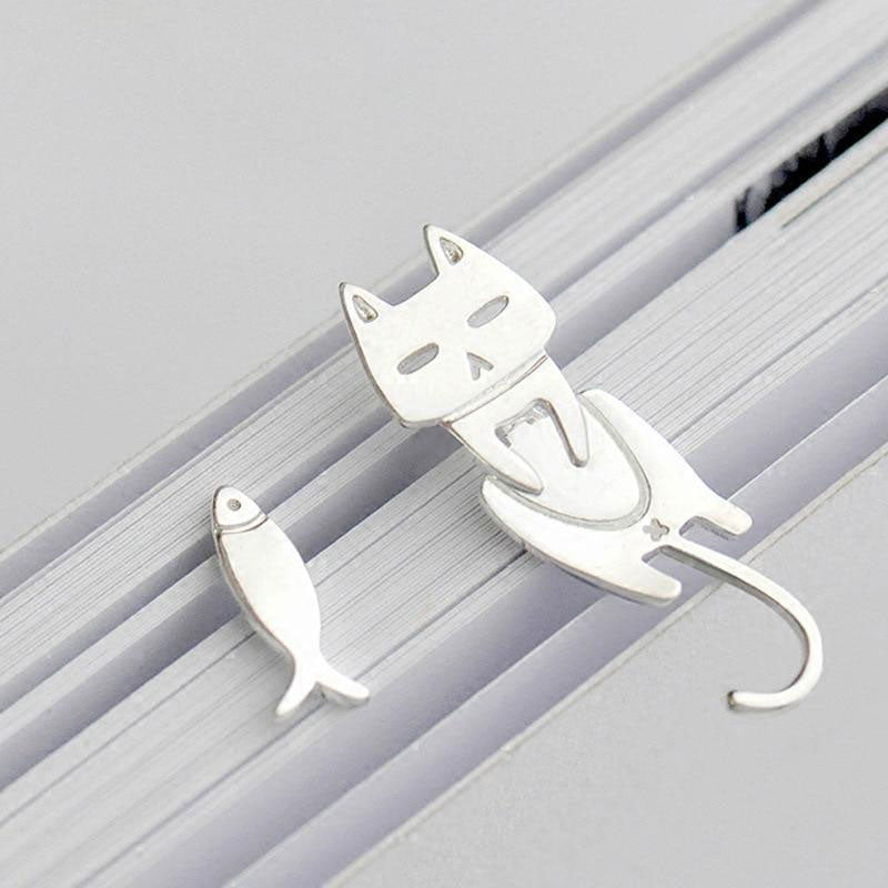 925 Sterling Silver Cat and Fish Stud Earrings