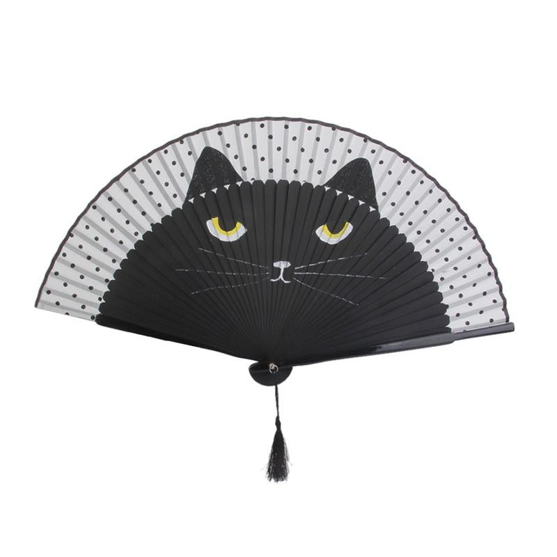 Women Cartoon Cat Folding Silk Fan