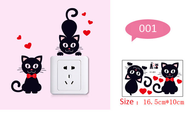 Black Cat Removable Switch Stickers