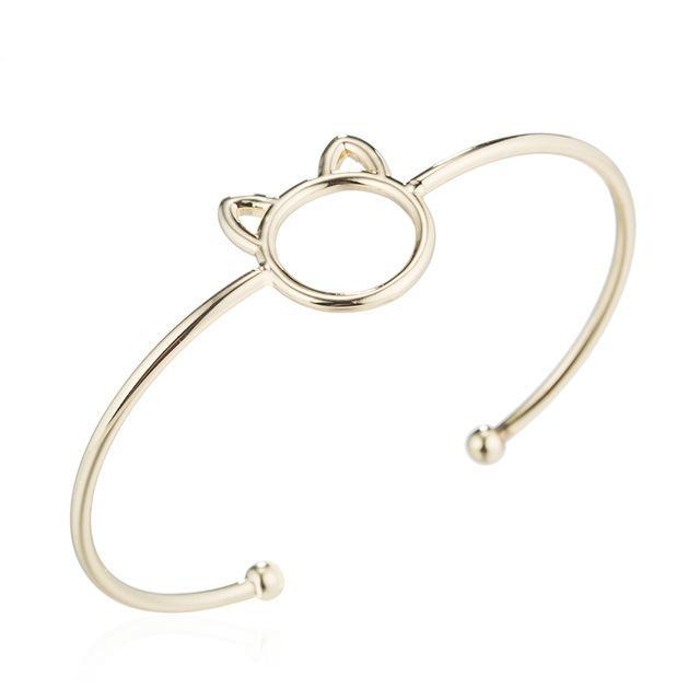 Minimalist Cat Bangle Bracelet