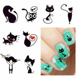 Sweet Grey Cat Nail Art Sticker