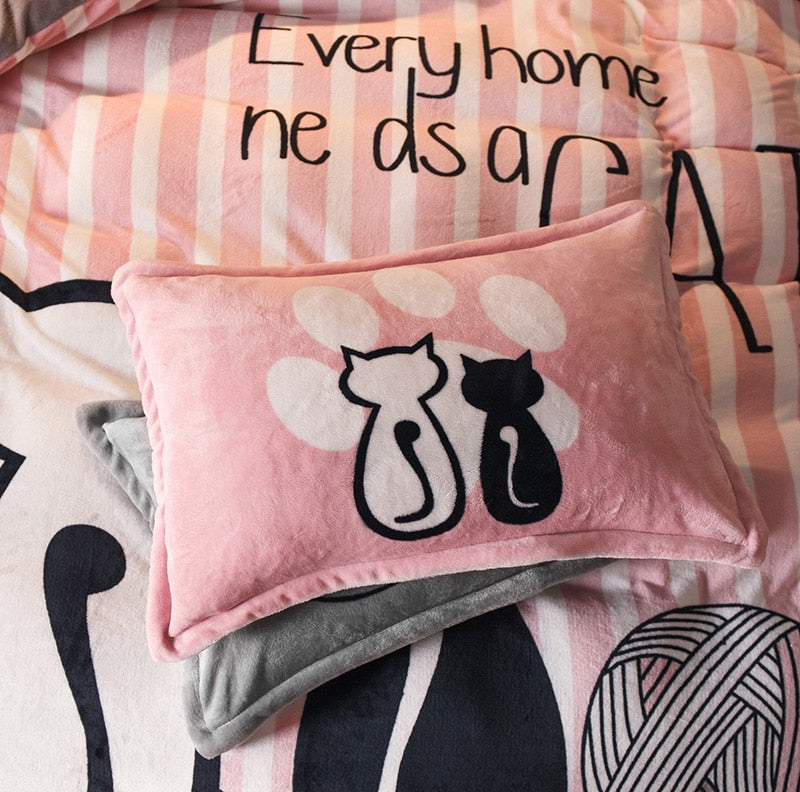 Pink Cat Bed Cover Set  - Queen Size