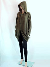 Load image into Gallery viewer, Women Hooded Coat in Army Green Knee Length