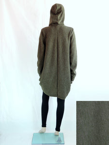 Women Hooded Coat in Army Green Knee Length