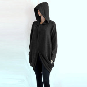 Women Black Knee Length Hooded Coat