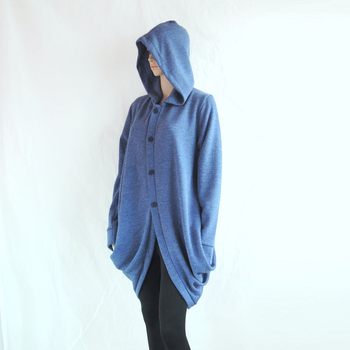 Women Blue Jacket Long Hooded Coat Knee Length