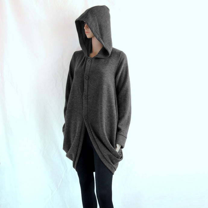 Women Gray Hooded Coat Knee Length