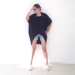 Women Black Cotton Asymmetrical Oversized Tops