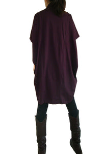 Boho Burgundy Women Oversized Tunic Tops