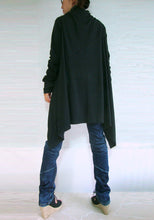 Load image into Gallery viewer, Women Oversized Long Black Wrap Cardigan Sweater