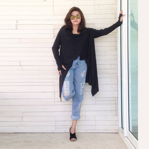 Women Oversized Long Black Wrap Cardigan Sweater
