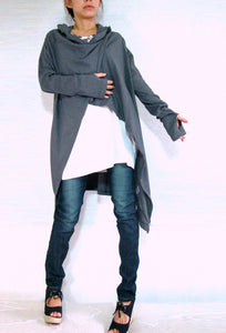 women long gray cardigan