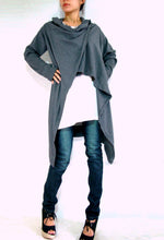 Load image into Gallery viewer, women long gray cardigan
