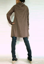 Load image into Gallery viewer, Women Unique Long Wrap Brown Cardigan
