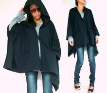 Load image into Gallery viewer, Large Women Black Hooded Cape Coat with pockets